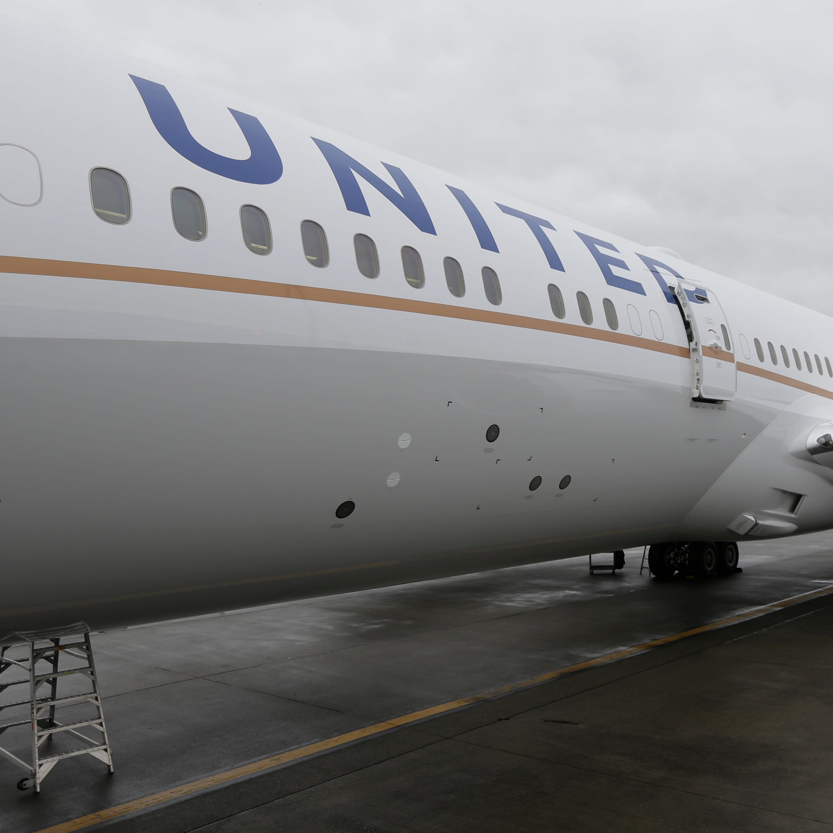 A new United Airlines Boeing 787-9 is shown during final configuration and maintenance  work at Seattle-Tacoma International Airport on Jan. 26, 2016.