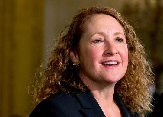 In this Jan. 5, 2016, file photo, then-Rep. Elizabeth Esty, D-Conn., attends a gathering at the East Room of the White House in Washington.