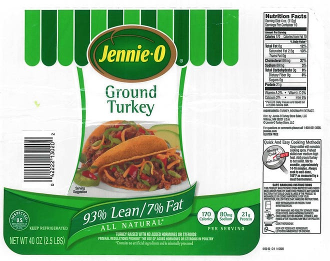 One of seven Jennie-O ground turkey labels provided by the United States Department of Agriculture in a Dec. 2018 recall amid a salmonella outbreak
