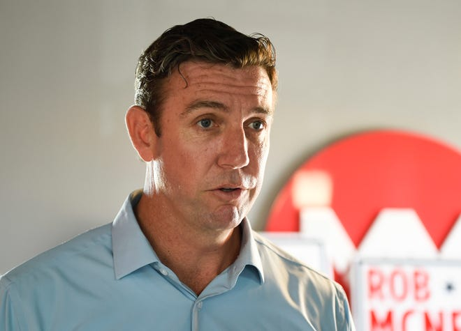 Rep. Duncan Hunter, R-Calif., speaks during an interview at a call center on in Santee, Calif.