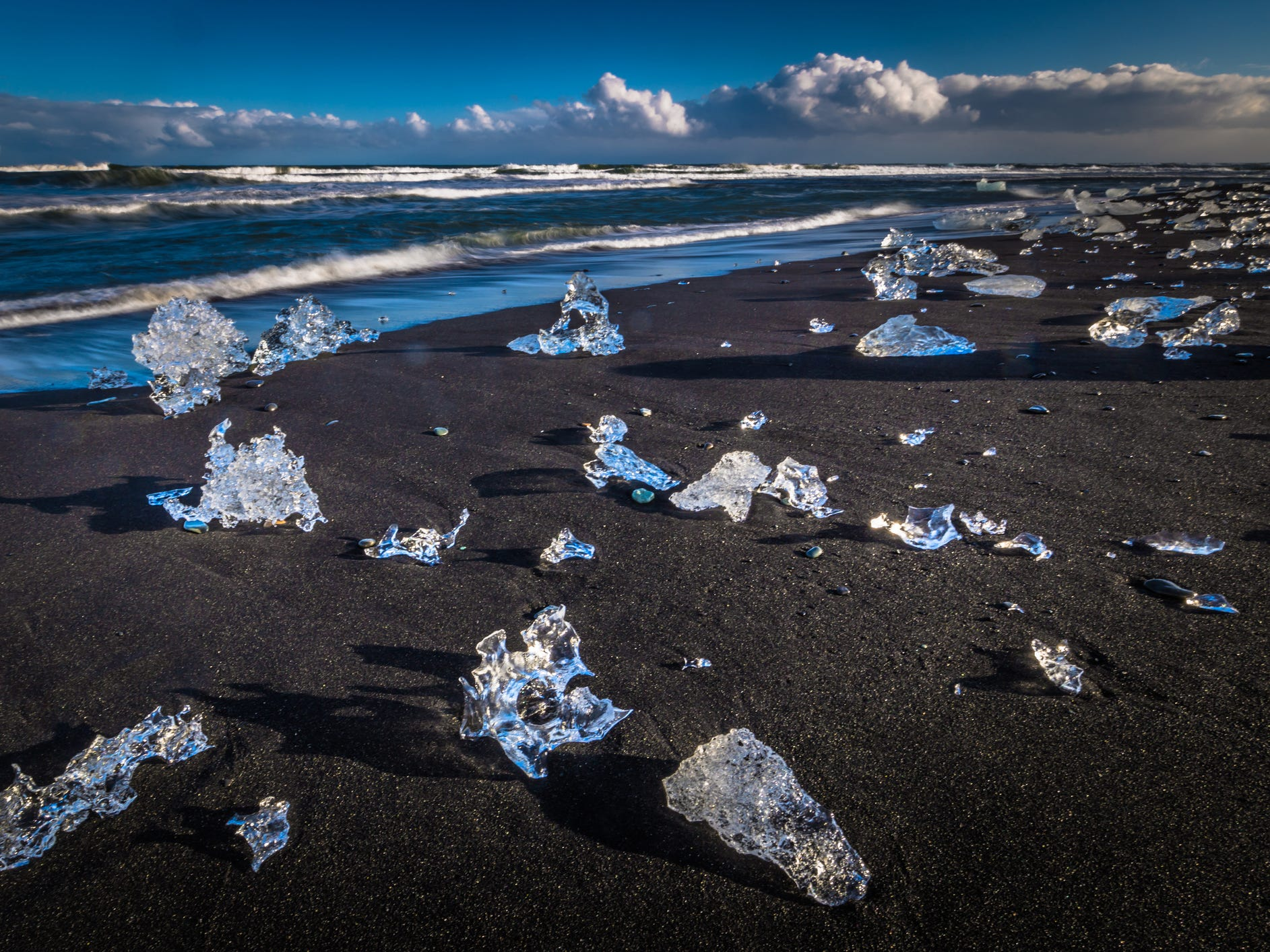 Diamond Beach at Jökulsárlón in Iceland.