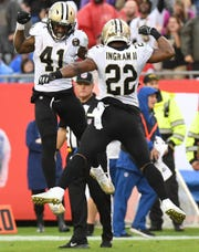 New Orleans running backs Mark Ingram (22) and Alvin Kamara (41) give the Saints a balance that is hard to contain.