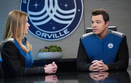 U.S.S. Orville Cmdr. Kelly Grayson (Adrianne Palicki), left, and Capt. Ed Mercer (Seth MacFarlane) have a complicated personal-professional relationship on Fox's 'The Orville.'