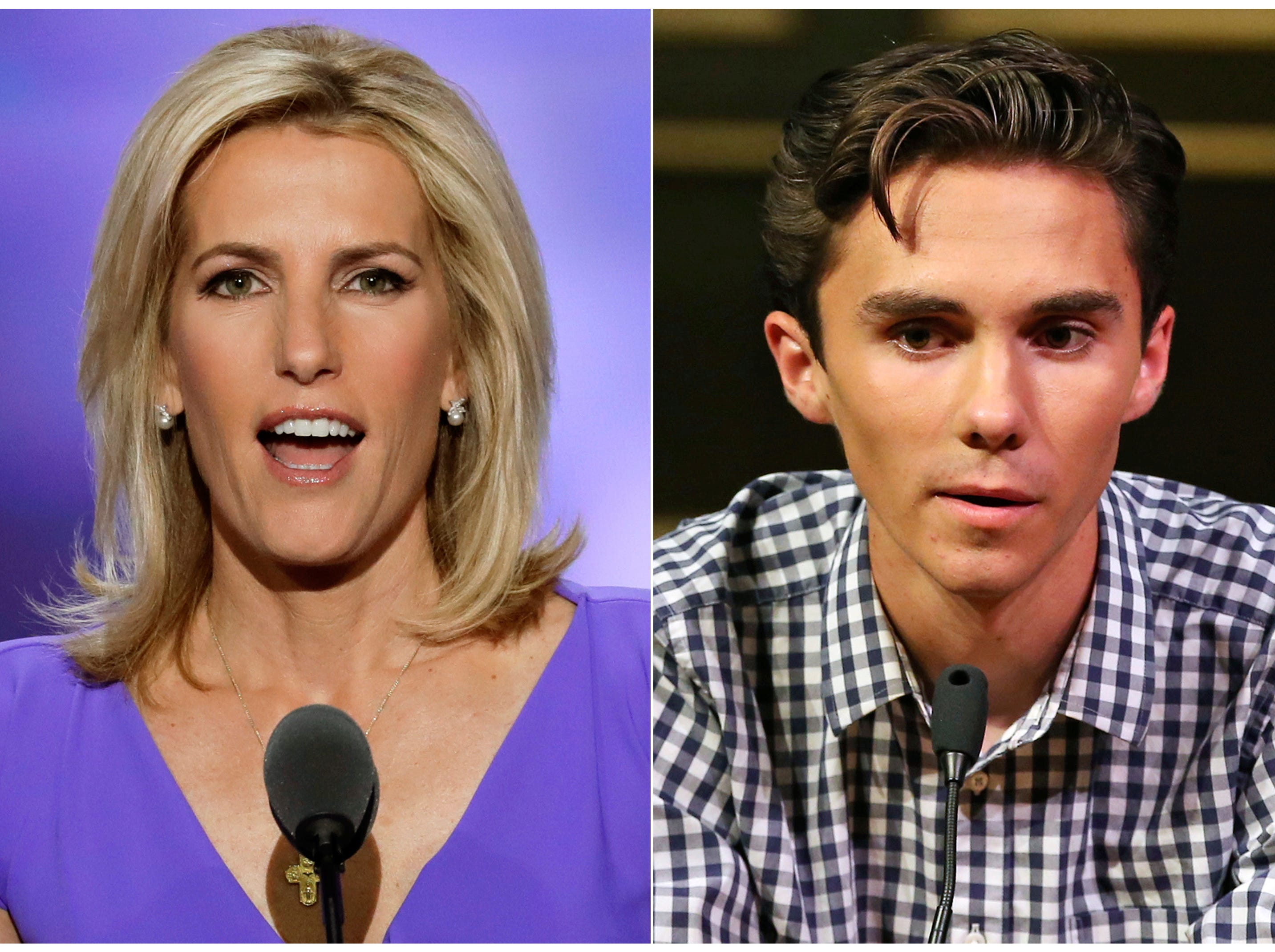 In this combination photo, Fox News personality Laura Ingraham, left, speaks at the Republican National Convention in Cleveland on July 20, 2016 and David Hogg, a student survivor from Marjory Stoneman Douglas High School in Parkland, Fla., speaks at a rally for common sense gun legislation in Livingston, N.J. on  Feb. 25, 2018. Some big name advertisers dropped Ingraham after she publicly criticized Hogg on social media.