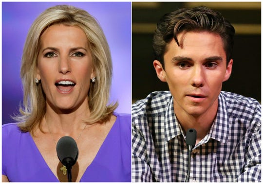 In this combination photo, Fox News personality Laura Ingraham speaks at the Republican National Convention in Cleveland on July 20, 2016, left, and David Hogg, a student survivor from Marjory Stoneman Douglas High School in Parkland, Fla., speaks at a rally for common sense gun legislation in Livingston, N.J. on Feb. 25, 2018. Some big name advertisers dropped Ingraham after she publicly criticized Hogg, a student at Marjory Stoneman Douglas school, on social media.