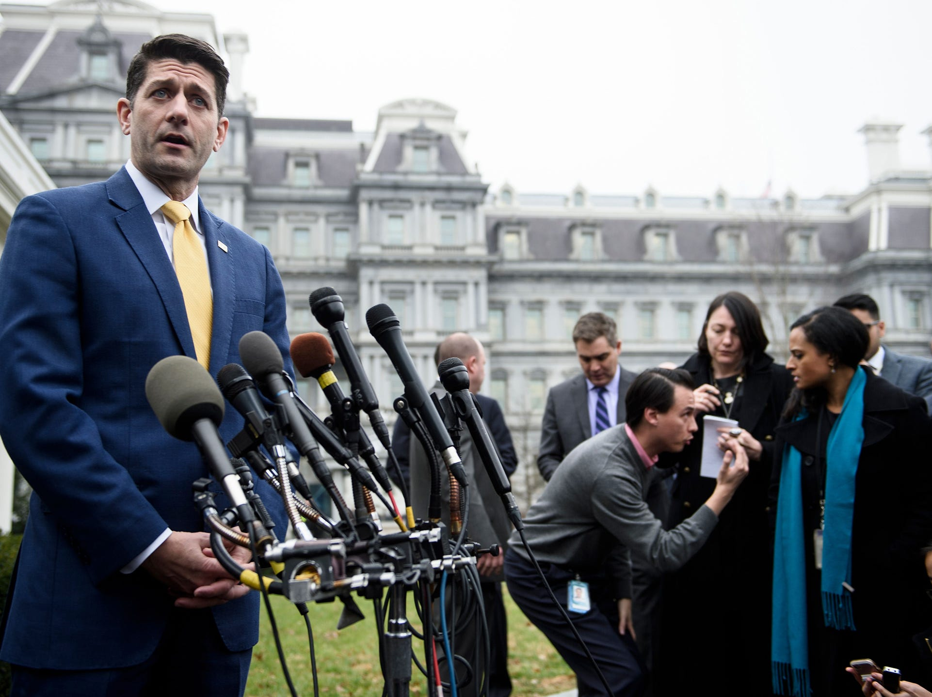 Speaker of the House Paul Ryan (R-WI) makes a statement to the press after a meeting with US President Donald Trump at the White House Thursday.