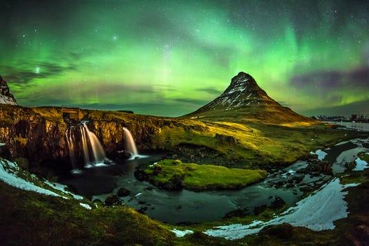 Aurora Borealis At Mount Kirkjufell Iceland