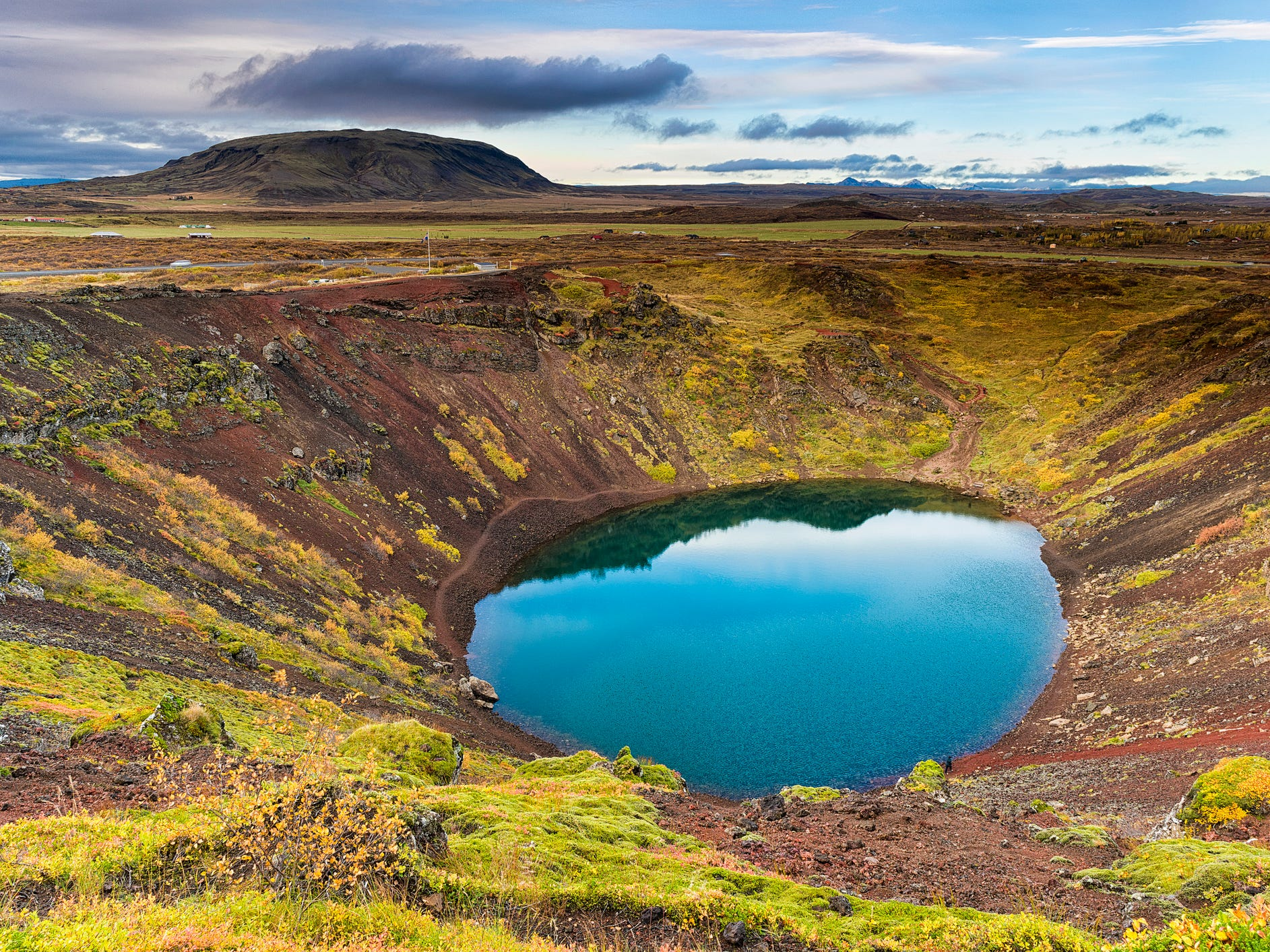 Kerið crater lake in Iceland.