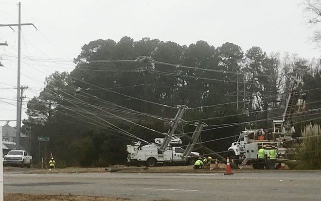 A damaged power line caused a power outage in Anderson.