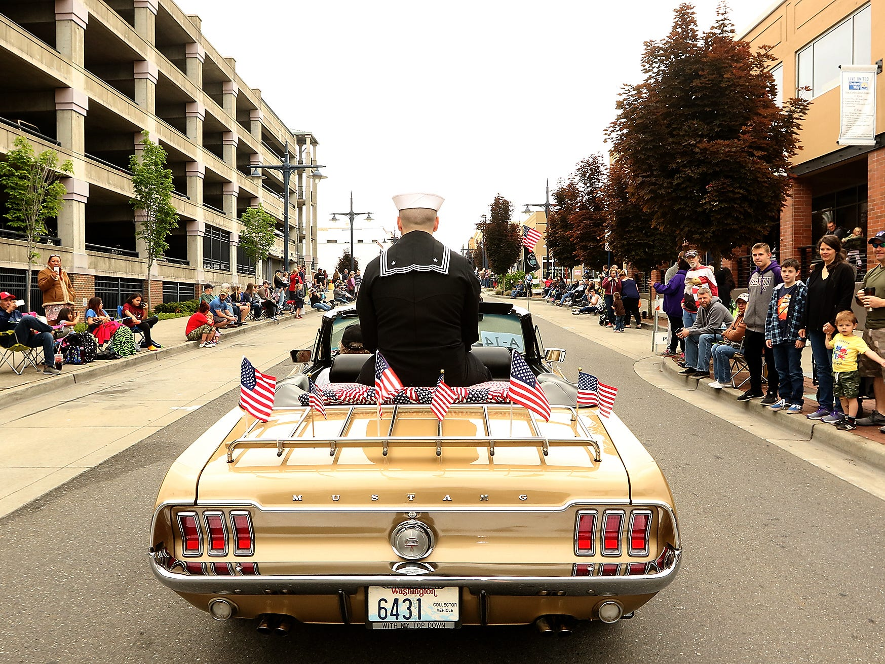 The Armed Forces Day Parade travels down 4th Street in downtown Bremerton, Washington on Saturday, May 19, 2018.