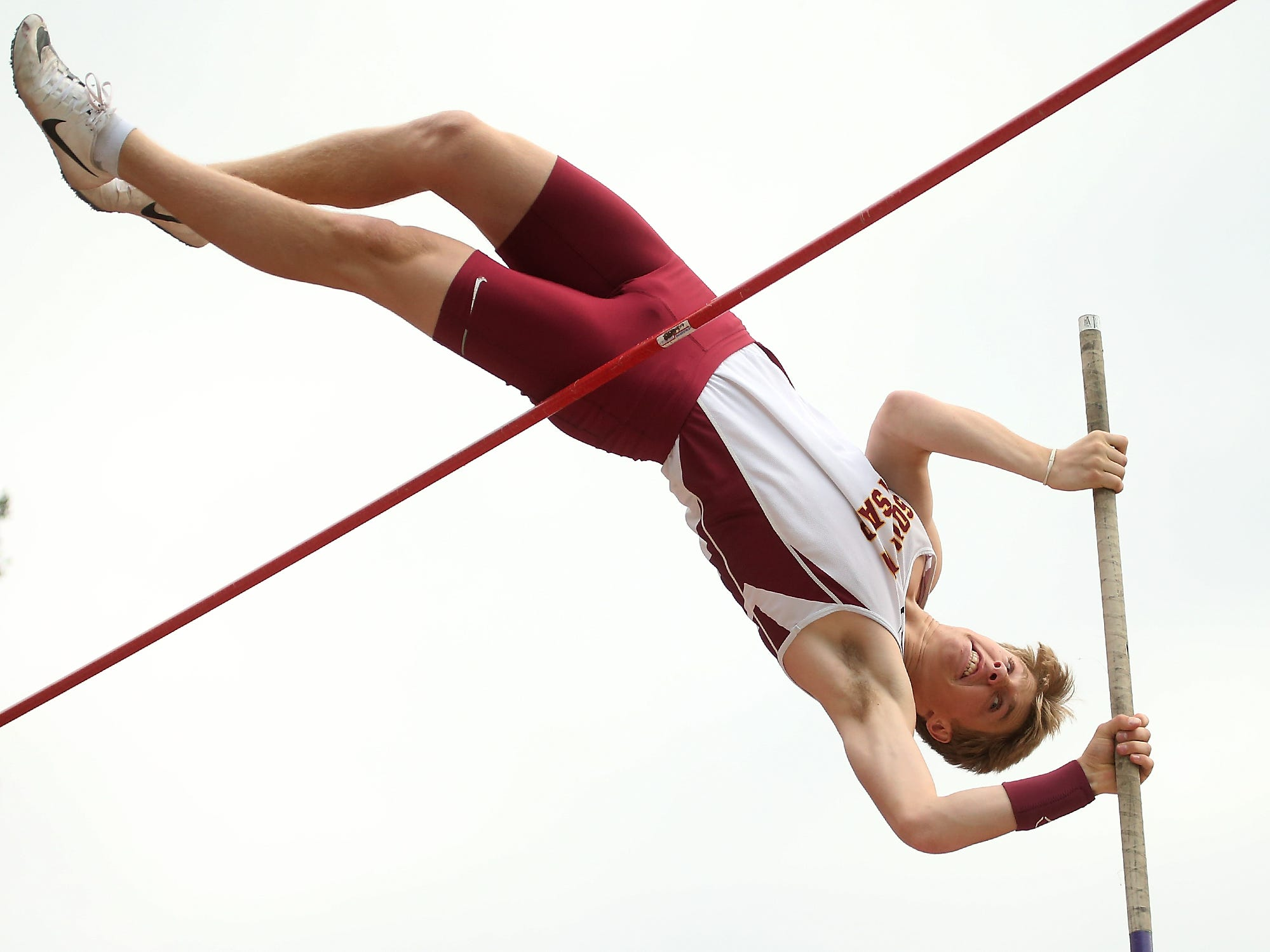 South Kitsap's Ryan Thoma clears 14-00.00 for a PR during their meet against Central Kitsap at Silverdale Stadium on Friday, May 4, 2018