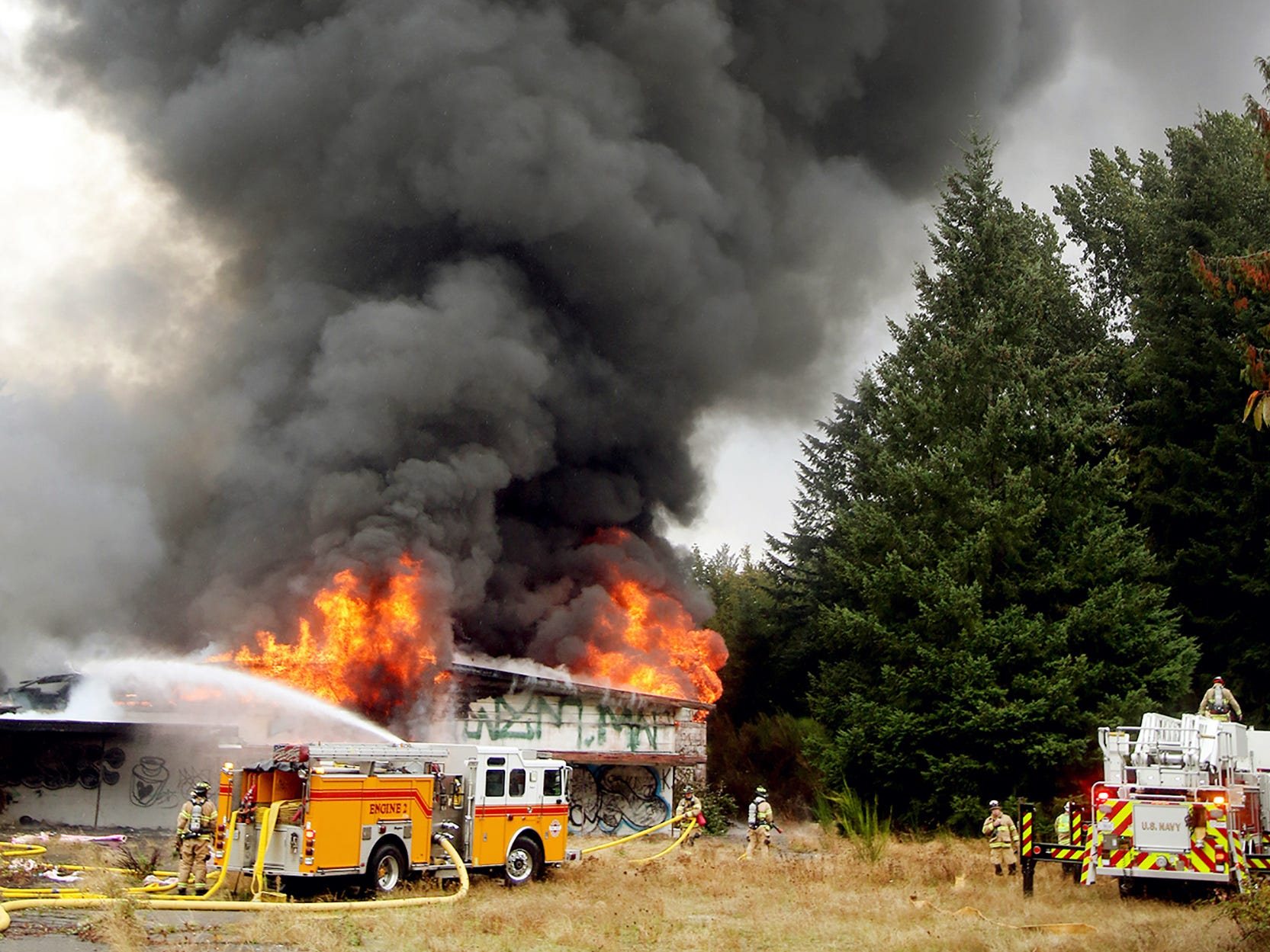The old Natacha's and Perl's venue in West Bremerton erupts in flames on Monday October, 1, 2018. The building was vacant at the time, and used by transients..