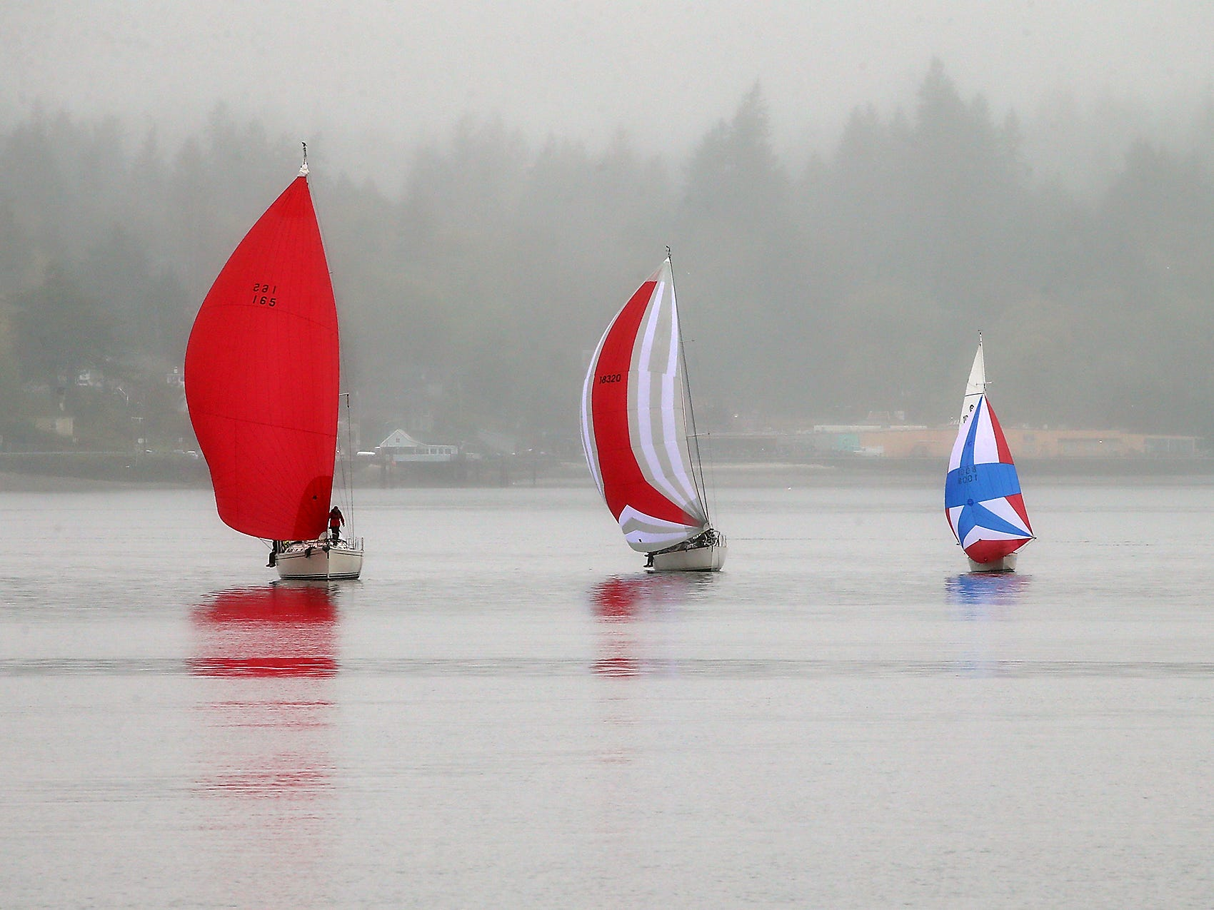 A trio of colorful sailboats catch the wind as they sail off the shore of Bremerton, Washington on a rainy Saturday, April 14, 2018.