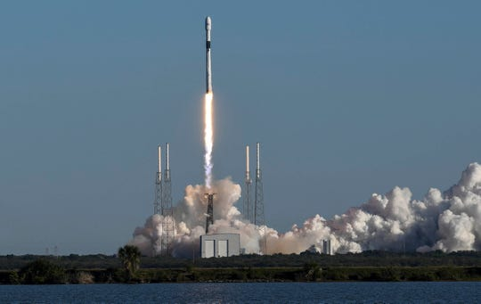 A SpaceX Falcon 9 rocket launches from Cape Canaveral Air Force Station on Sunday, Dec. 23, 2018. On board was the Air Force's GPS III satellite.