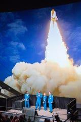 Astronauts Nicole Stott, Leland Melvin, Anousheh Ansari and Ron Garan  speak during the Constellation event on Friday, Dec. 21, 2018.