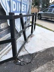 Tommy Davis, a longtime steel worker and welder, installed the guard rail at the Downtown Diner about seven years ago, mainly to prevent patrons from backing in the parking space and hitting the building. Davis, who operated Tommy Davis Welding in Titusville, now lives in Marmaduke, Arkansas.