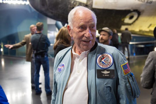 Apollo 15 astronaut Al Worden speaks with attendees during an Apollo 8 celebration at the Kennedy Space Center Visitor Complex in December 2018.