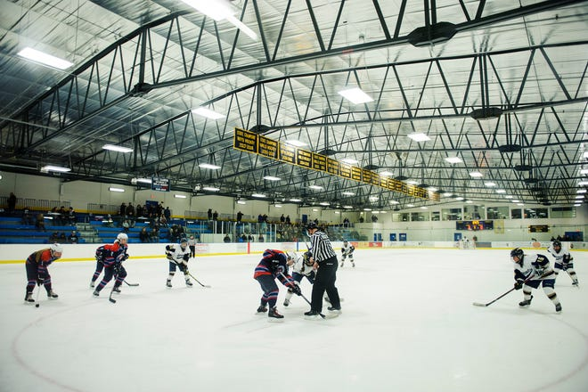 CVU and Essex face off during the girls hockey game between the CVU Redhawks and the Essex Hornets at the Essex Skating Facility on Saturday afternoon December 22, 2018 in Essex.