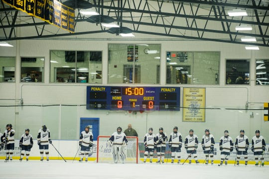 Essex waits for the player introductions during the girls hockey game between the CVU Redhawks and the Essex Hornets at the Essex Skating Facility on Saturday afternoon December 22, 2018 in Essex.