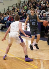 Preston Sykes brings the ball up the court against Unioto. Adena High School basketball went 6-16 during the 2017-18 season but this year they have completely turned it around as they are in a district semi.