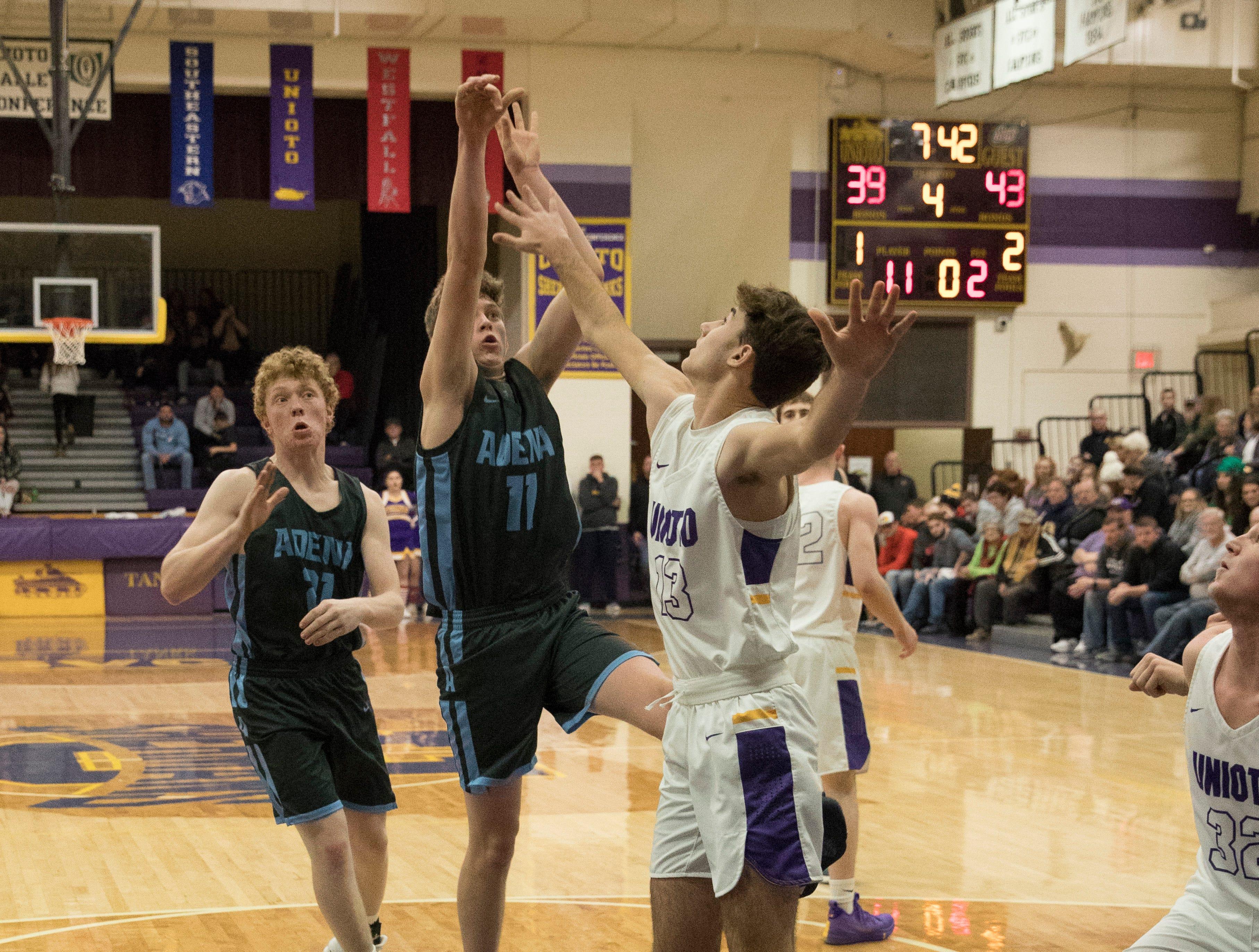 Adena defeated Unioto 55-53 Saturday night at Unioto High School in Chillicothe, Ohio, giving Adena its sixth SVC win.