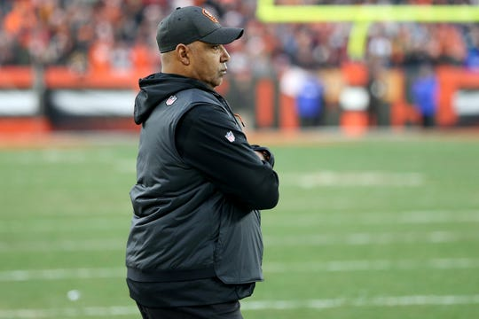 Cincinnati Bengals head coach Marvin Lewis watches the game in the final moments of the fourth quarter of a Week 16 NFL football game, Sunday, Dec. 23, 2018, at FirstEnergy Stadium in Cleveland. The Cleveland Browns won 26-18.