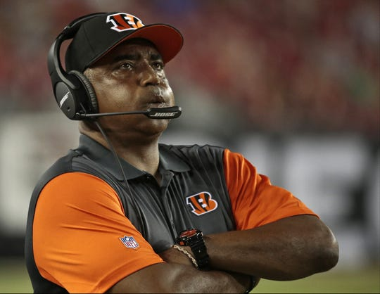 Cincinnati Bengals head coach Marvin Lewis takes a deep breath as clock ticks down near the end of the third quarter  of the NFL pre-season game between the Cincinnati Bengals and the Tampa Bay Buccaneers at Raymond James Stadium in Tampa, Fla., on Monday, Aug. 24, 2015. The Bengals fell to 1-1 in the preseason with a 25-11 loss in Tampa.