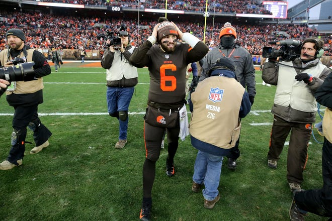 Cleveland Browns quarterback Baker Mayfield (6) walks off the field after the Week 16 NFL football game against the Cincinnati Bengals, Sunday, Dec. 23, 2018, at FirstEnergy Stadium in Cleveland. The Cleveland Browns won 26-18.