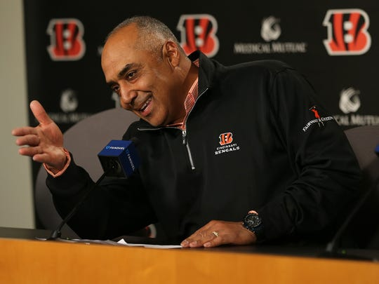 Bengals head coach Marvin Lewis answers questions from reporters, Wednesday, Jan. 3, 2018, at Paul Brown Stadium in Cincinnati.