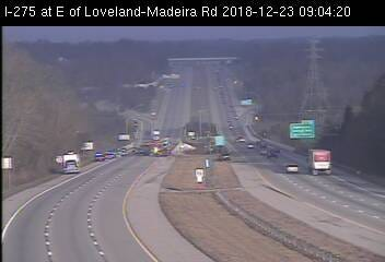 A traffic camera image from 9:04 a.m. Sunday shows police and firefighters on the scene of an accident at I-275's eastbound lanes at Loveland-Madeira Road in Symmes Township.