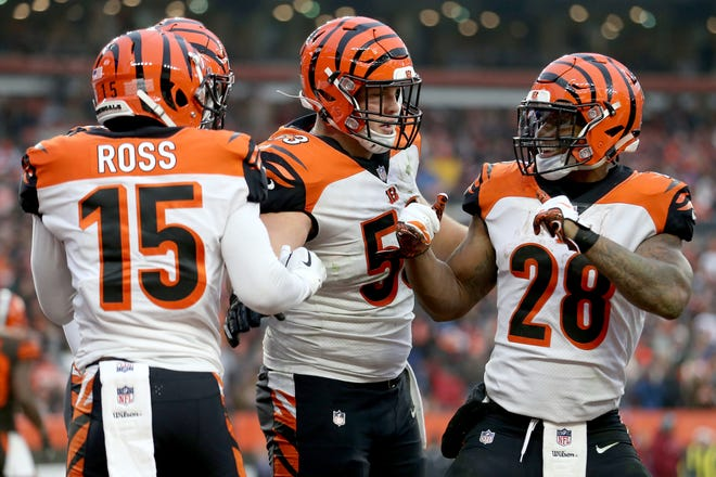 Cincinnati Bengals wide receiver John Ross (15), left, celebrates his touchdown catch with Cincinnati Bengals running back Joe Mixon (28), right, in the fourth quarter of a Week 16 NFL football game, Sunday, Dec. 23, 2018, at FirstEnergy Stadium in Cleveland. The Cleveland Browns won 26-18.