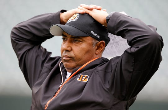 2010.05.01 BENGALS SPORTS :  The Cincinnati Bengals head coach Marvin Lewis keeps an eye out on his team during rookie minicamp in Cincinnati Saturday May 1 , 2010. The Enquirer/Jeff Swinger