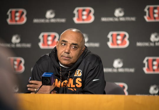 Cincinnati Bengals head coach Marvin Lewis speaks at a press conference Mon., Dec. 18, 2017, the day after another Bengals loss. So far in 2017, they are 5-9.