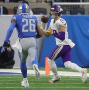 Minnesota Vikings receiver Adam Thielen makes a catch against Detroit Lions DeShawn Shead during the first half at Ford Field in Detroit on Sunday, December 23, 2018.