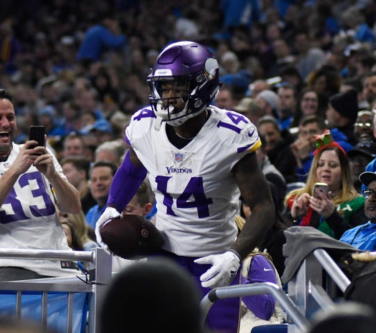 Vikings wide receiver Stefon Diggs leaves the stands after scoring a touchdown during the first half on Sunday, Dec. 23, 2018, at Ford Field.