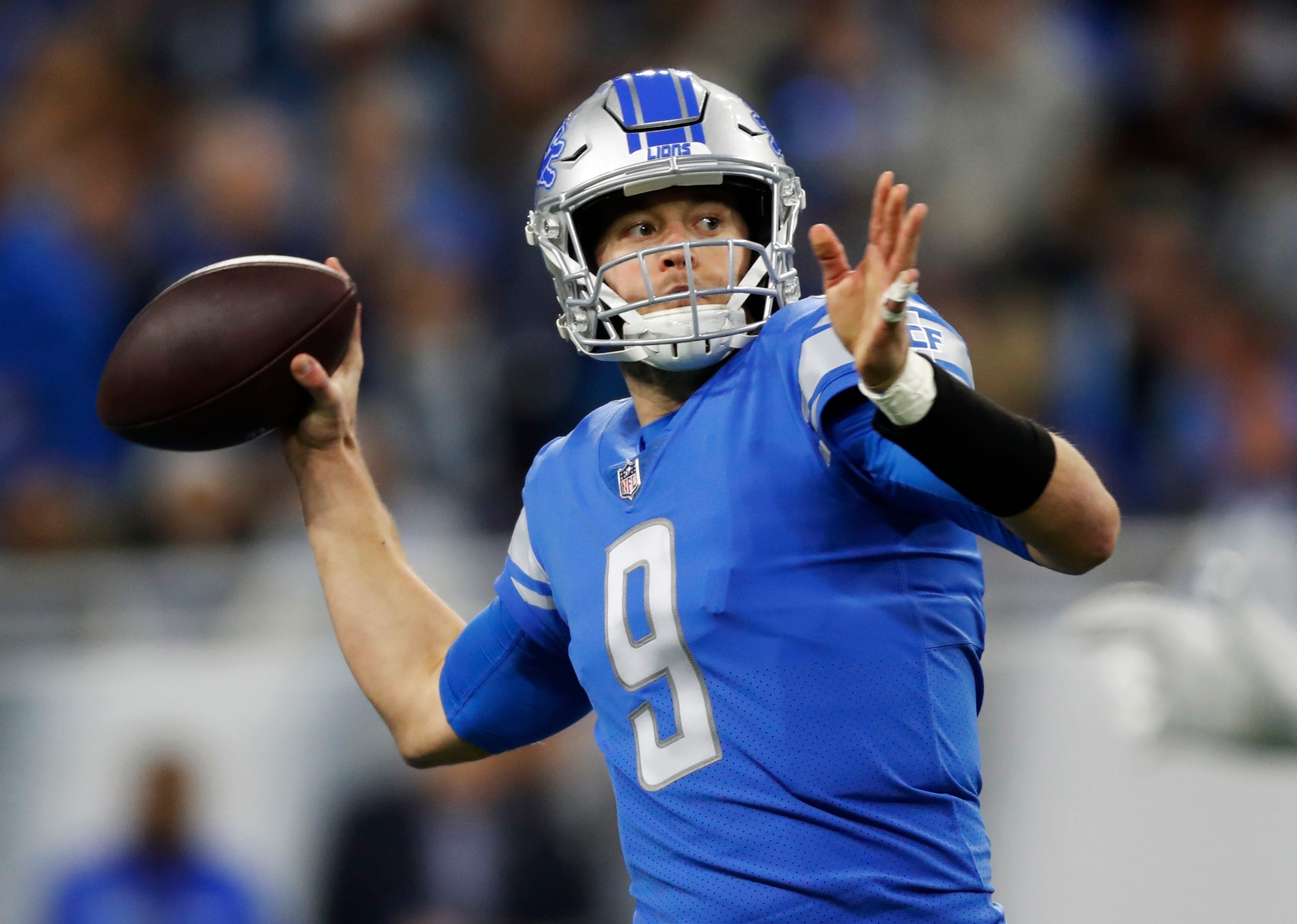 Lions quarterback Matthew Stafford throws against the Minnesota Vikings during the first half on Sunday, Dec. 23, 2018, at Ford Field.