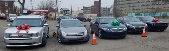 The five vehicles that will be given away to winners announced at the end of the 5 p.m. Sunday, Dec. 23, 2018 service at the Triumph Church-East Campus in Detroit.