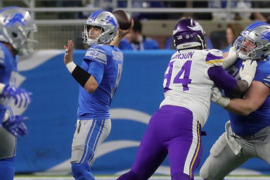 Detroit Lions quarterback Matthew Stafford passes against the Minnesota Vikings during the first half at Ford Field in Detroit on Sunday, December 23, 2018.