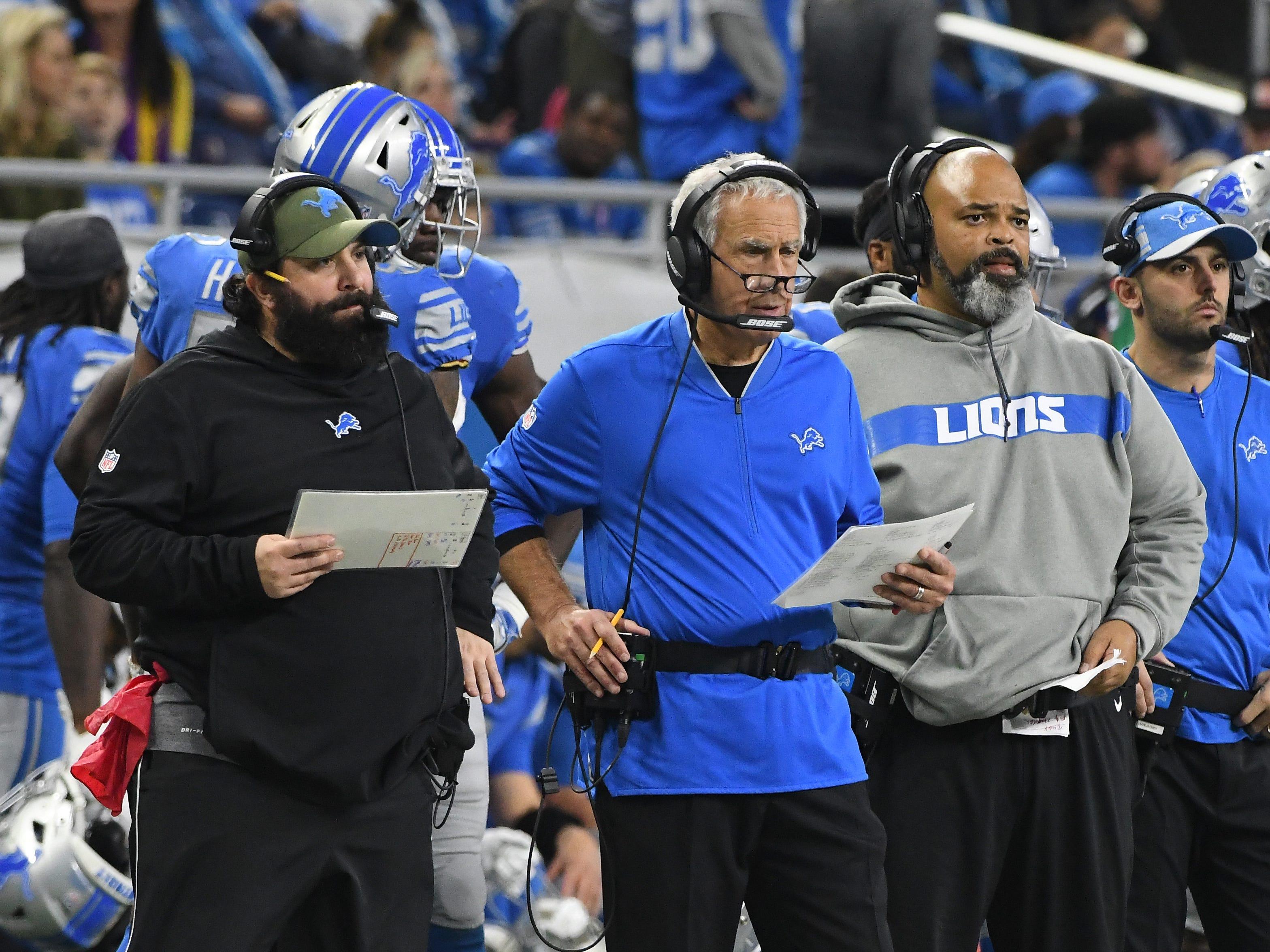 Lions head coach Matt Patricia, defensive coordinator Paul Pasqualoni and defensive line coach Bo Davis on the sidelines in the fourth quarter.
