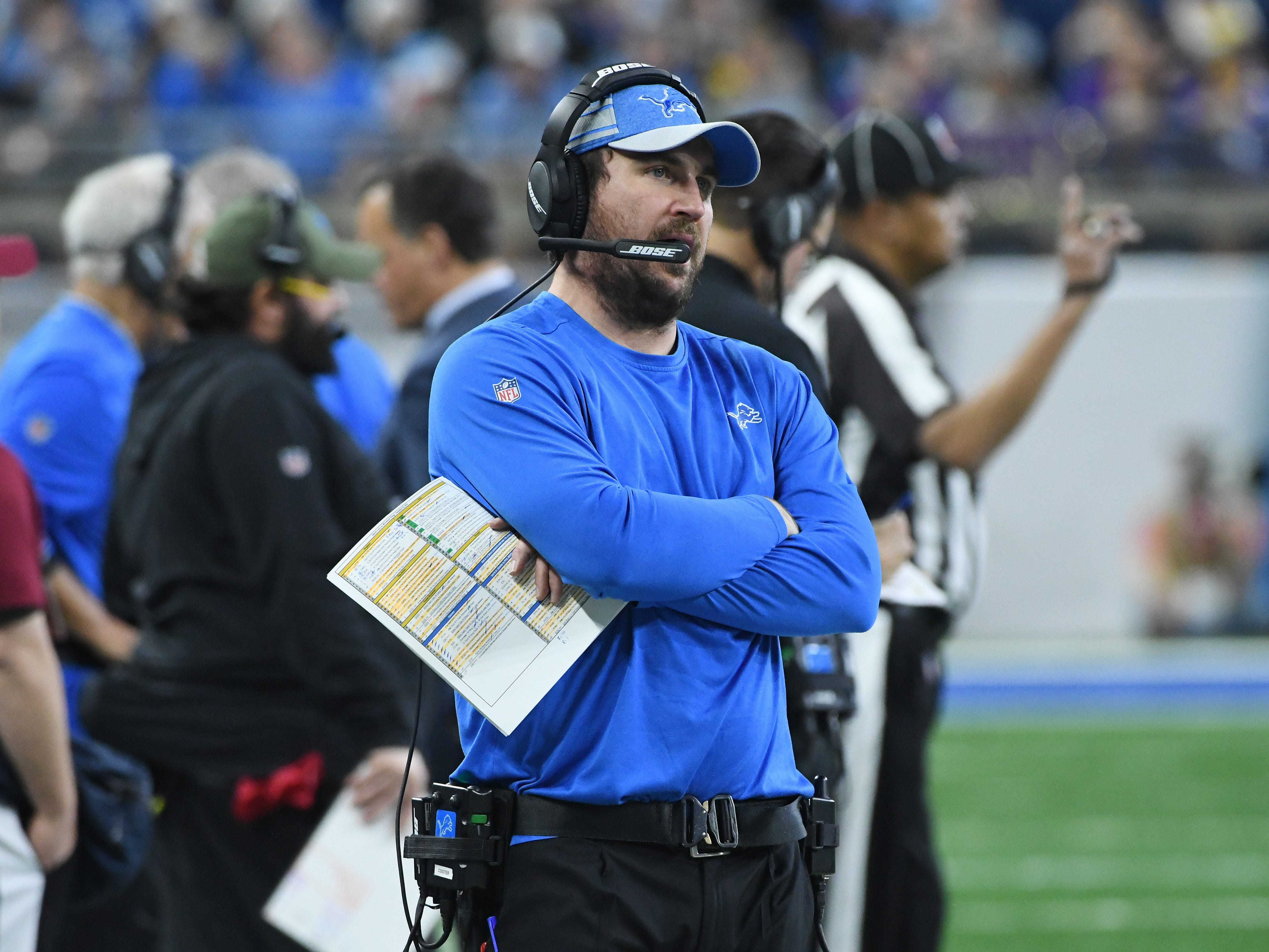 Lions offensive coordinator Jim Bob Cooter on the sidelines in the second quarter.