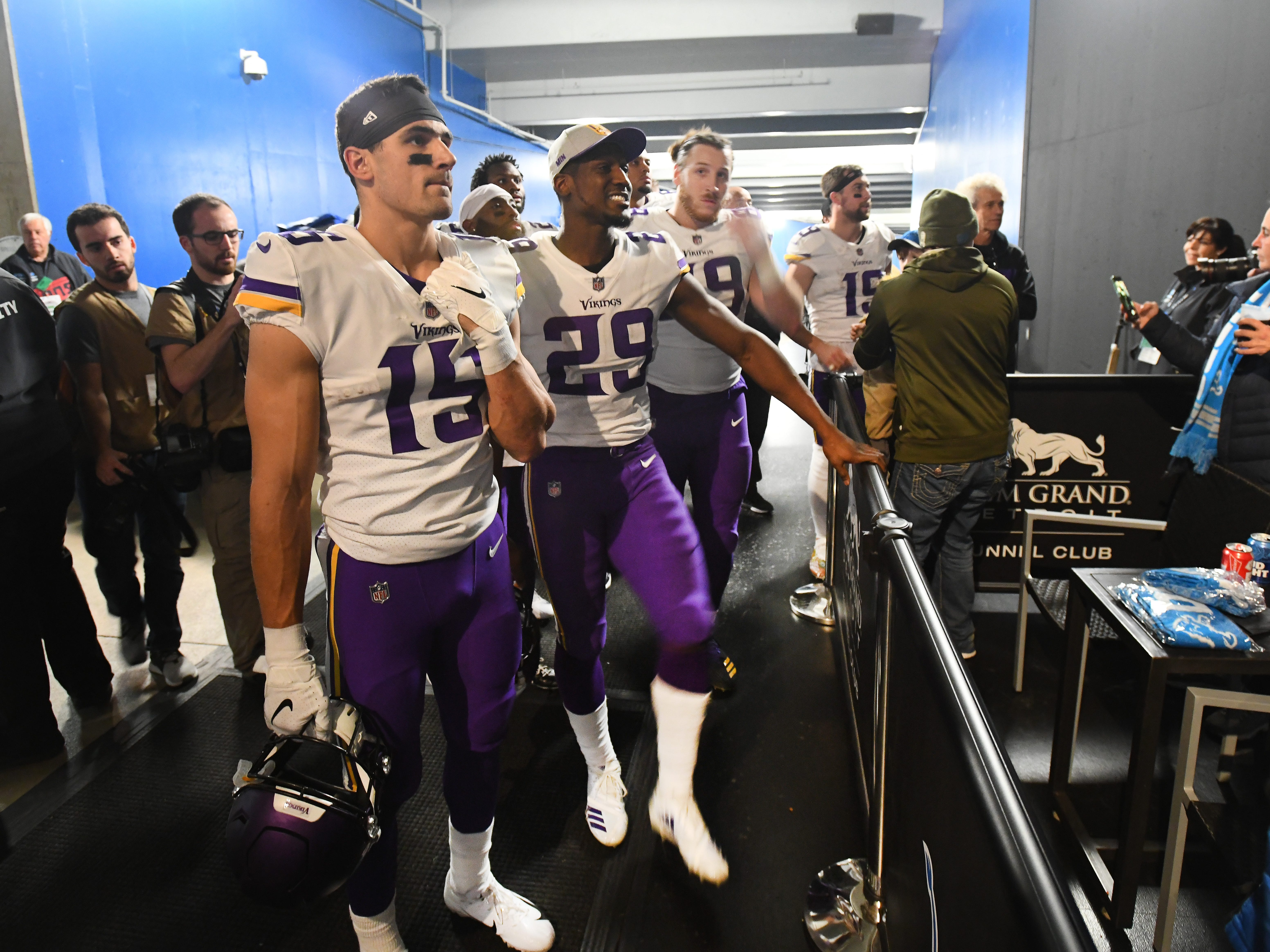 Vikings players stop in the tunnel at the MGM Grand Detroit Tunnel Club to watch the Eagles, Texans game, which will impact their playoff status after beating the Lions 27-9 in Ford Field.