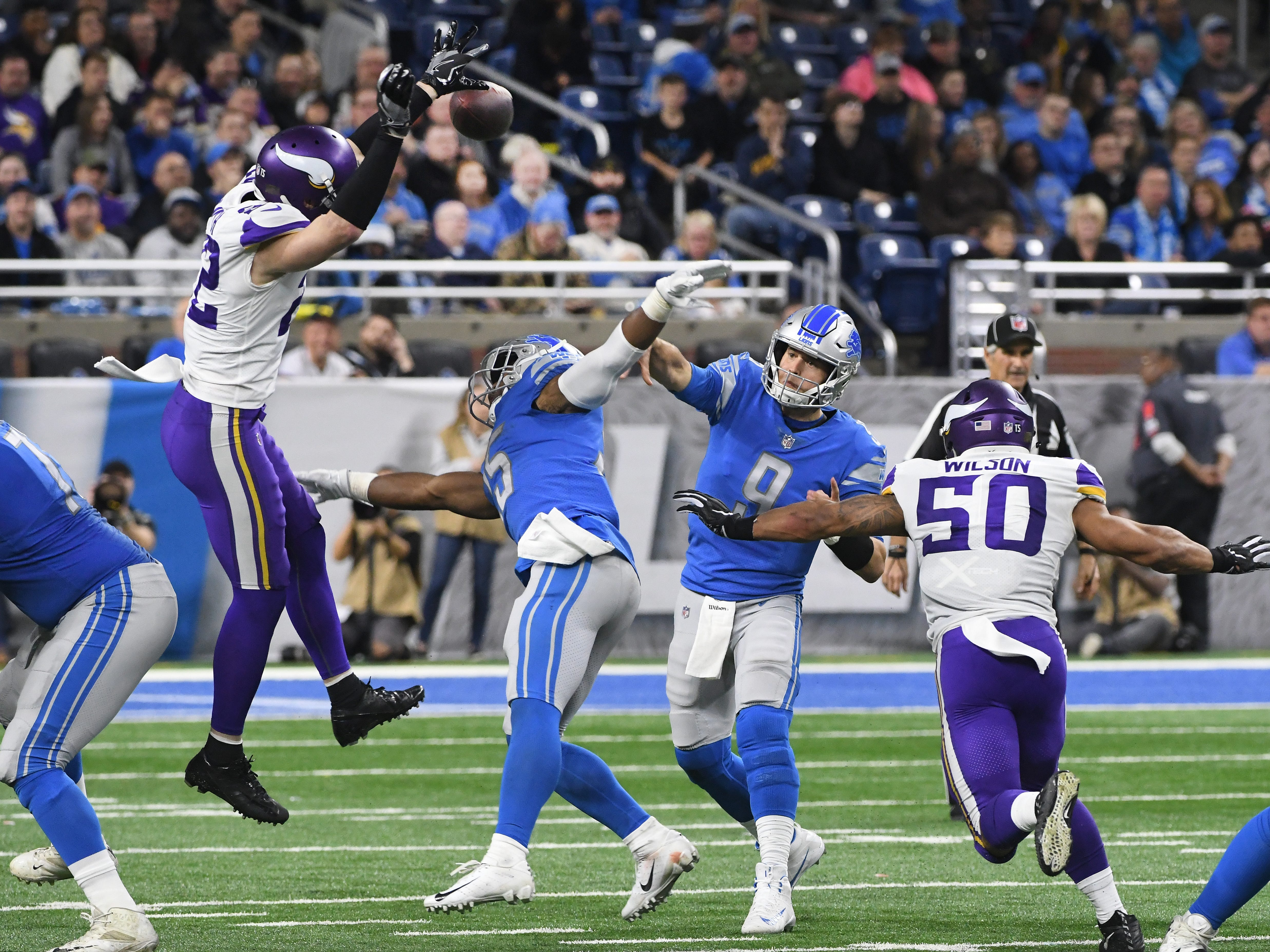 Vikings' Harrison Smith blocks a pass by Lions quarterback Matthew Stafford in the second quarter.