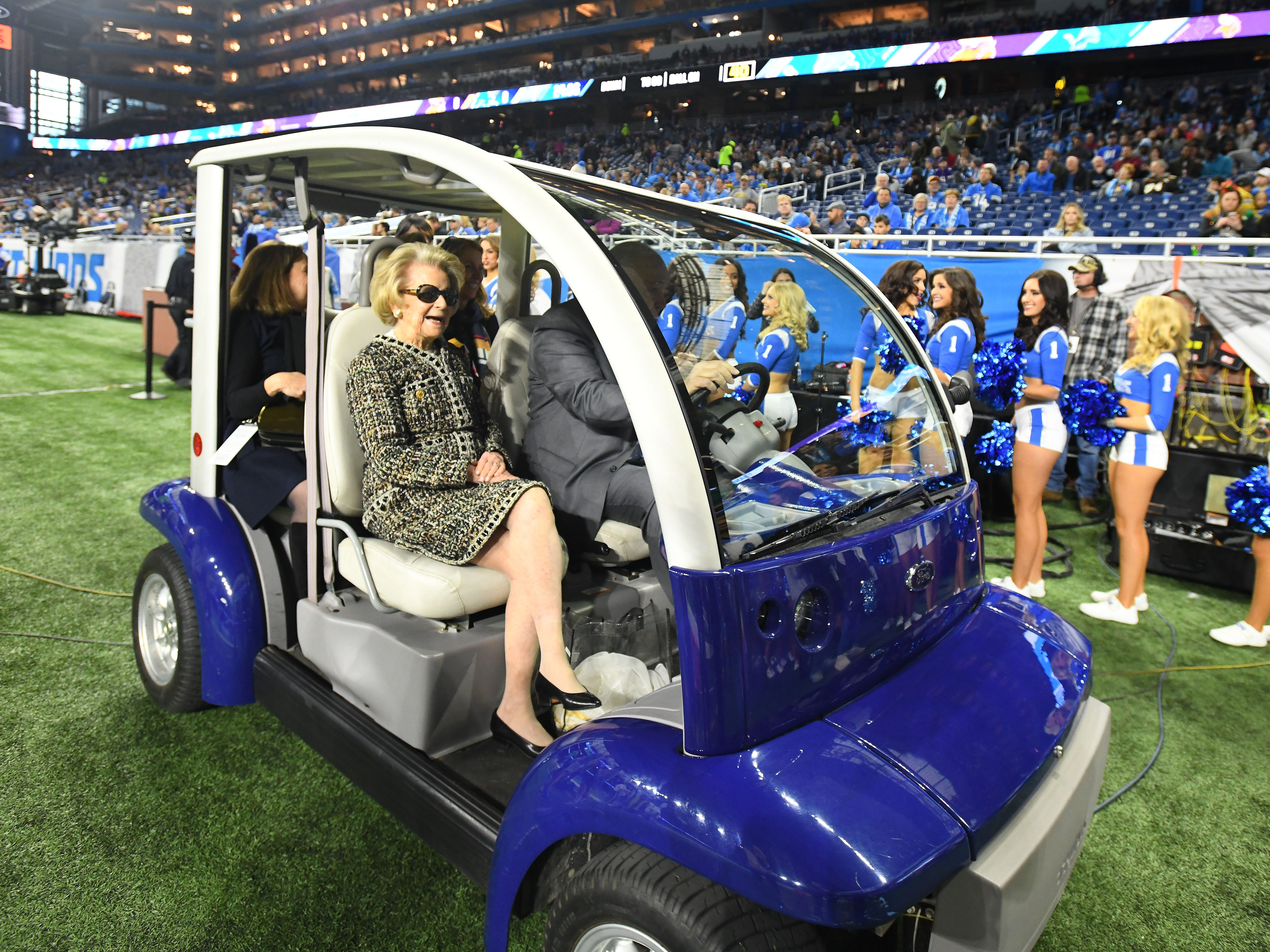 Detroit Lions owner Martha Ford heads back up the tunnel after warmups before Detroit took on the Minnesota Vikings.