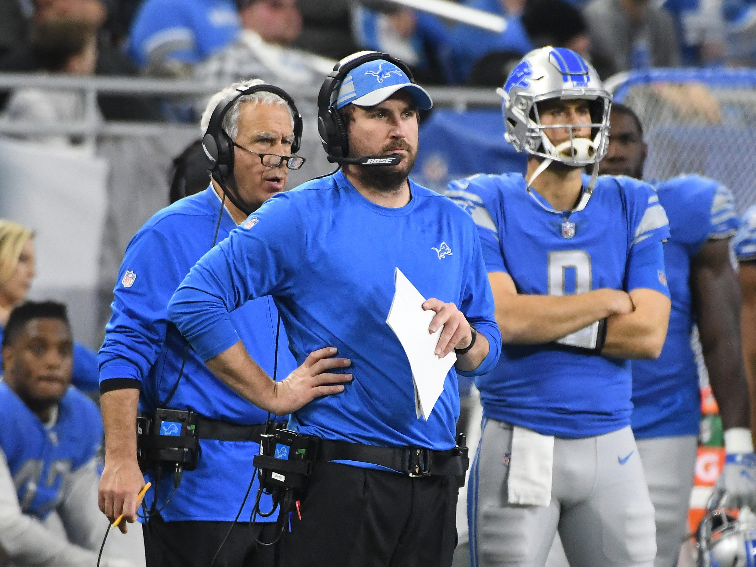 Lions offensive coordinator Jim Bob Cooter, with defensive coordinator Paul Pasqualoni and defensive line coach Bo Davis on the sidelines in the fourth quarter.