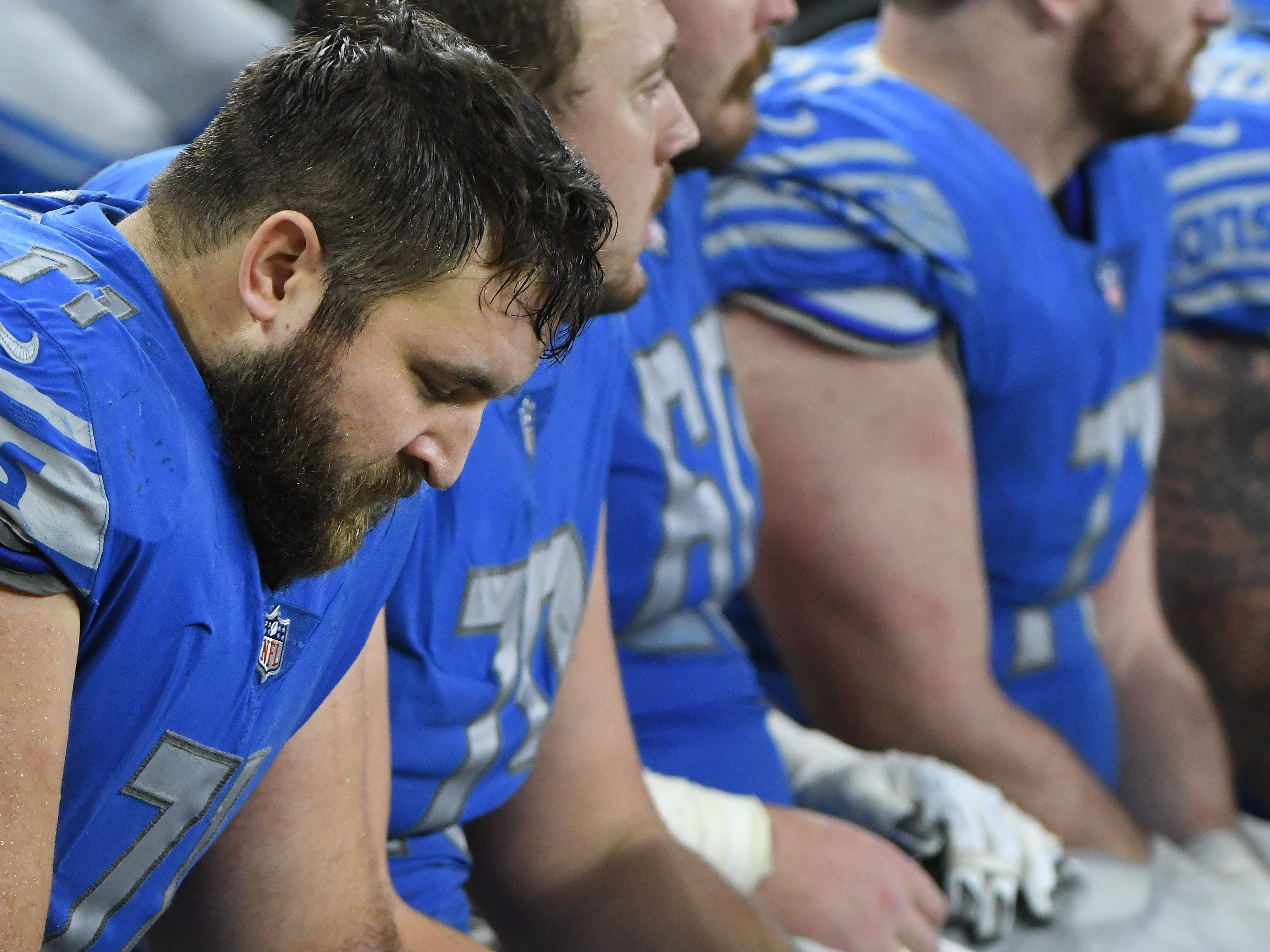 Lions offensive lineman Rick Wagner on the bench in the third quarter.