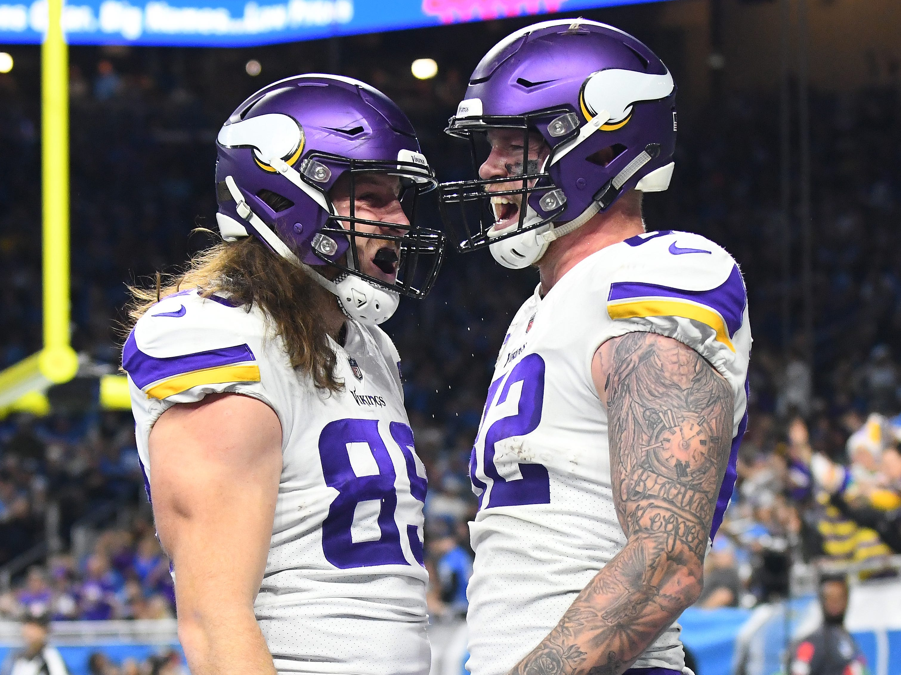 Vikings tight ends David Morgan and Kyle Rudolph let out a yell after Rudolphs touchdown in the fourth quarter.