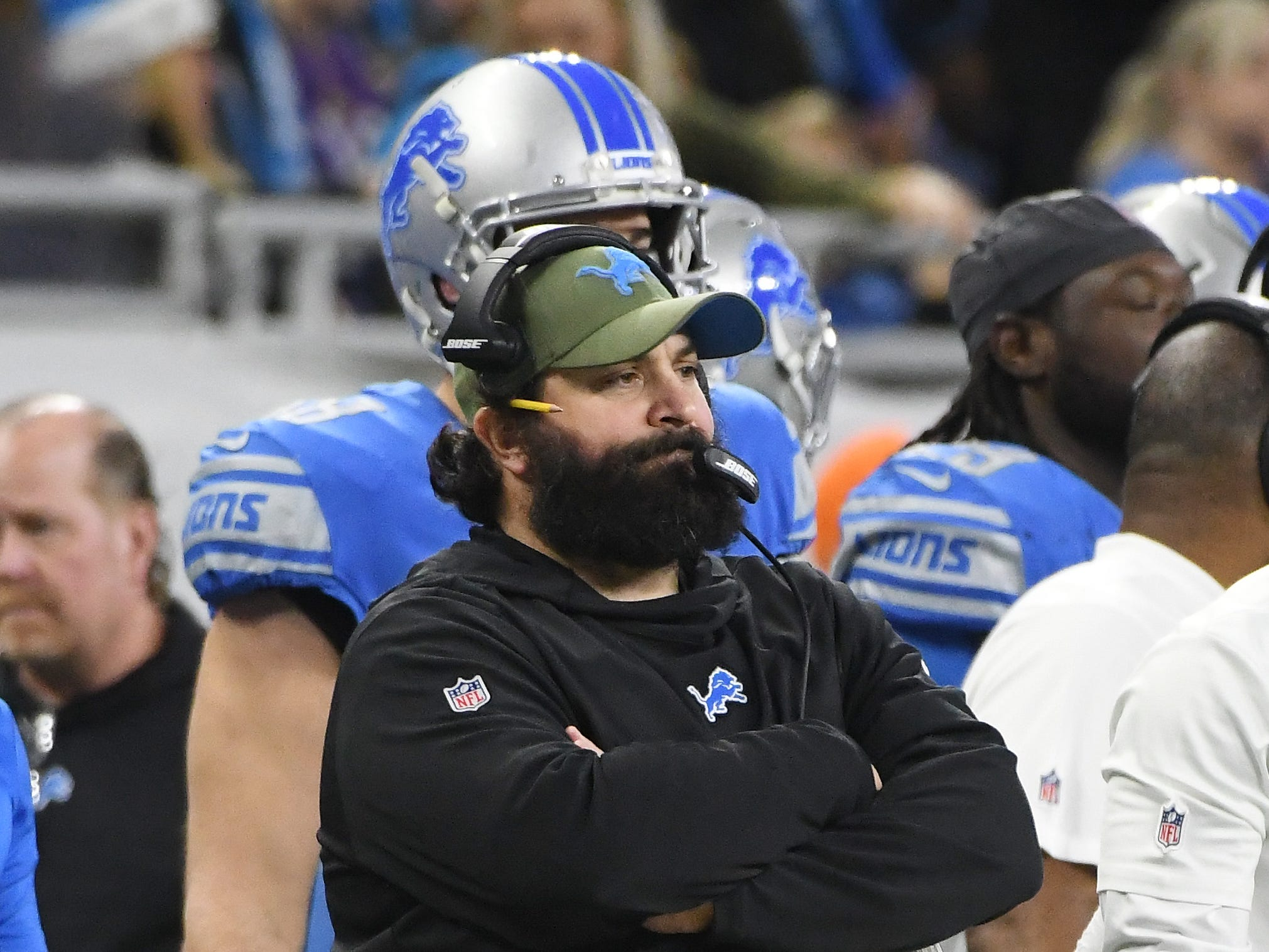 Lions head coach Matt Patricia on the sidelines in the fourth quarter.