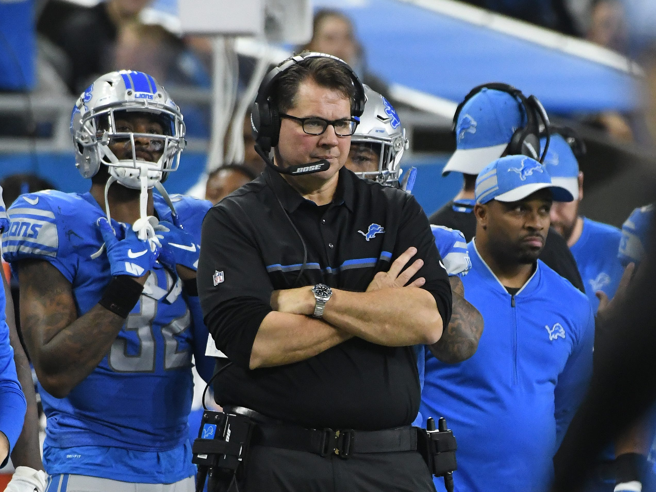 Lions linebacker coach Al Golden on the sidelines in the fourth quarter.