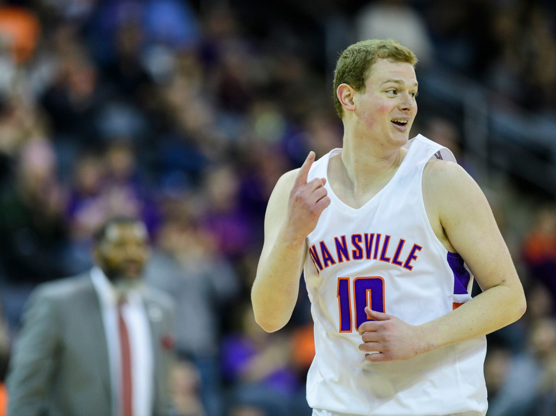 University of Evansville's Evan Kuhlman (10) reacts to his team's 80-75 win over the University of Wisconsin-Green Bay Phoenix at Ford Center in Evansville, Ind., Saturday, Dec. 22, 2018.