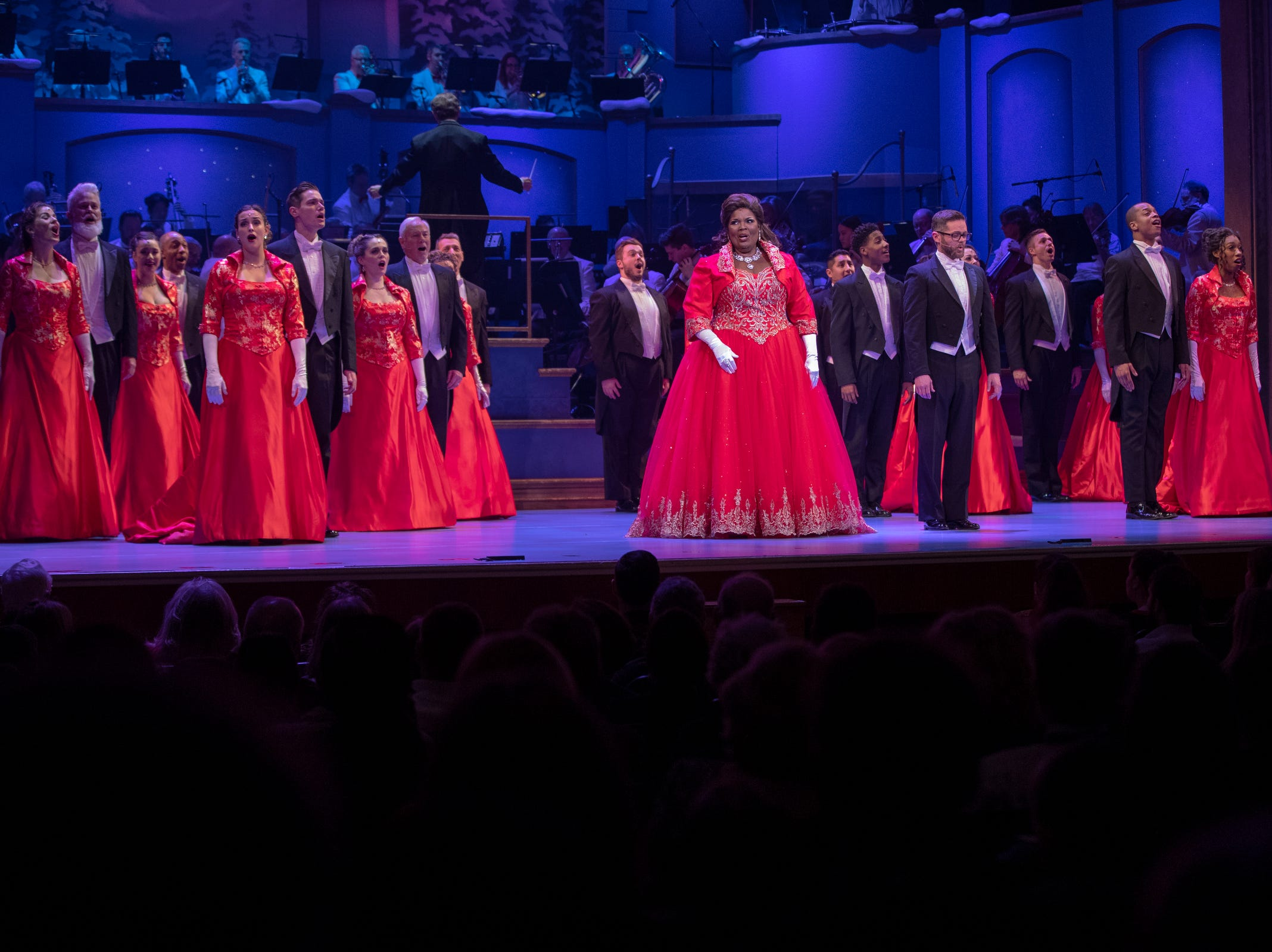 An ensemble at Yuletide Celebration, showcasing the Indianapolis Symphony Orchestra, at Hilbert Circle Theater, Indianapolis, Sunday. Dec. 23, 2018. The extravaganza features dancing, holiday songs, and skits.
